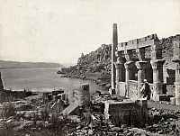 0129131 © Granger - Historical Picture ArchiveEGYPT: ISLAND OF PHILAE.   A man looking out at the Nile River from a temple on the island of Philae, Egypt. Photograph by Francis Frith, c1860.