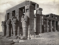 0129154 © Granger - Historical Picture ArchiveTHEBES: RAMESSEUM.   Statues of Osiris on the memorial temple of Pharaoh Ramesses II at the necropolis in Thebes, Egypt. Photograph by Francis Frith, c1860.