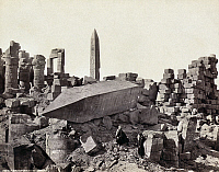 0129182 © Granger - Historical Picture ArchiveEGYPT: KARNAK RUINS.   A standing and a fallen obelisk at Karnak, Egypt. Photograph by Francis Frith, c1860.