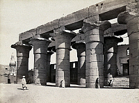 0129183 © Granger - Historical Picture ArchiveEGYPT: LUXOR TEMPLE.   Columns of a portico at the Luxor temple, Egypt. Photograph by Francis Frith, c1860.