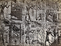 0129185 © Granger - Historical Picture ArchiveEGYPT: WALL INSCRIPTIONS.   Bas-reliefs and hieroglyphics on a wall at Abydos, Egypt. Photograph by Francis Frith, c1860.
