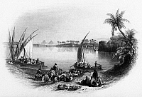 0132109 © Granger - Historical Picture ArchiveCAIRO: FERRY.   Ferry landing on the Nile River in the Old Cairo section of Cairo, Egypt. Line engraving, English, 1849.
