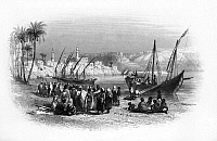 0132111 © Granger - Historical Picture ArchiveEGYPT: SLAVE BOAT.   A slave boat moored on the Nile River at Girga, Egypt. Line engraving, English, 1849.