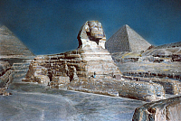 0169927 © Granger - Historical Picture ArchiveEGYPT: GREAT SPHINX.   The Great Sphinx and Great Pyramids at Giza, Egypt. Undated hand-colored photograph.