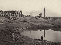 0169975 © Granger - Historical Picture ArchiveEGYPT: KARNAK RUINS.   Ruins of the great hall at Karnak, Egypt, with obelisks in the background. Photograph by Francis Frith, c1860.