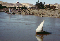 0354831 © Granger - Historical Picture ArchiveEGYPT: FELUCCA ON THE NILE.   The Mausoleum of Aga Khan III is visible in the background. Photograph, c1970.