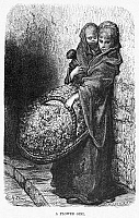 0012651 © Granger - Historical Picture ArchiveDORÉ: LONDON, 1872.   'A Flower Girl.' Wood engraving after Gustave Doré from 'London: A Pilgrimage,' 1872.