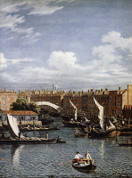 0023658 © Granger - Historical Picture ArchiveLONDON: FLEET RIVER.   Detail 'Entrance to the Fleet River, London.' Oil on canvas by a follower of Samuel Scott, 18th century.