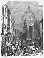 0029611 © Granger - Historical Picture ArchiveFLEET STREET, LONDON, 1848.   Looking towards St. Paul's Cathedral. Line engraving, 1848.
