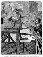 0031886 © Granger - Historical Picture ArchiveENGLAND: OBSERVATORY, 1880.   A scientist measures sunlight at the Greenwich Observatory, England. Line engraving, 1880.