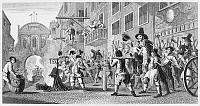 0037154 © Granger - Historical Picture ArchiveHOGARTH: HUDIBRAS.   'The Burning of the Rumps at Temple Bar: And to the Largest Bonfire Riding. They've Roasted Cook Already, and Pride In.' Fleet Street scene. Steel engraving after William Hogarth, 18th century.