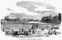 0037428 © Granger - Historical Picture ArchiveENGLAND: WATERWORKS, 1852.   The filtering basins of the Lambeth Water Company's new works at Seething Wells, Ditton, England. Line engraving, English, 1852.