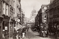 0038098 © Granger - Historical Picture ArchiveLONDON: FLEET STREET.   St. Paul's Cathedral in the background, c1890.
