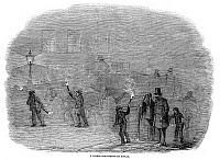 0041252 © Granger - Historical Picture ArchiveLONDON: STREET SCENE, 1847.   Pedestrians use torches to aid their journey through the foggy streets of London, England. Wood engraving from an English newspaper of 1847.