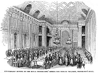 0077761 © Granger - Historical Picture ArchiveLONDON: FREEMASON'S HALL.   'Anniversary dinner of the Royal Freemason's School for Female Children, Freemason's Hall.' Wood engraving, 1843.