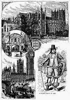 0094168 © Granger - Historical Picture ArchiveLONDON SCENES.   Scenes of Victorian London in the 19th century and (lower right) a London dandy of 1646. Wood engraving, English, c1875.