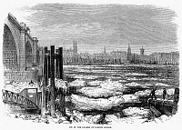 0094176 © Granger - Historical Picture ArchiveLONDON: ICE IN THAMES, 1870.   View of the Thames River at London Bridge, London, England, while clogged with ice. Wood engraving, English, 1870.
