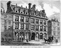0094179 © Granger - Historical Picture ArchiveLONDON: DAILY NEWS, 1885.   View of the renovated offices of the Daily News on Bouverie Street in London, England. Wood engraving, English, 1885.