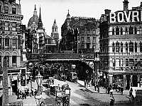 0094347 © Granger - Historical Picture ArchiveLONDON: LUDGATE CIRCUS.   View of Ludgate Circus, London, England, with St. Paul's Cathedral visible in the rear. Photographed c1900.