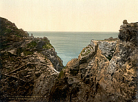 0115390 © Granger - Historical Picture ArchiveTINTAGEL CASTLE.   View of the ruins of Tintagel Castle in Cornwall, England, said to have belonged to King Arthur. Photochrome, c1900.