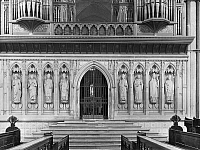 0116155 © Granger - Historical Picture ArchiveENGLAND: CATHEDRAL CHOIR.   Choir screen in Rochester Cathedral, Kent, with figures of bishops and Cardinals. Photograph, mid-20th century.