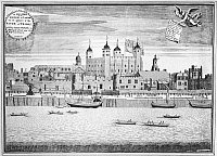 0116314 © Granger - Historical Picture ArchiveTOWER OF LONDON, 1715.   View of the Tower of London from the Thames River. Engaving by Sutton Nicholls, 1715.