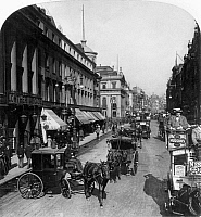 0122245 © Granger - Historical Picture ArchiveLONDON: THE STRAND, c1901.   Horse-drawn cabs along the Strand in London, England. Stereograph, c1901.