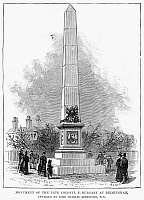 0122579 © Granger - Historical Picture ArchiveFREDERICK GUSTAVUS BURNABY   (1842-1885). English traveller and soldier. Monument dedicated to Burnaby in Birmingham, England. Wood engraving, English, 1885.
