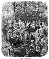 0266329 © Granger - Historical Picture ArchiveLONDON: HYDE PARK, 1872.   'Hyde Park Corner - The Row,' in London. Wood engraving after Gustave Doré, from the series 'London: A Pilgrimage,' 1872.