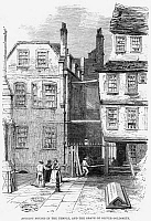 0268373 © Granger - Historical Picture ArchiveLONDON: TEMPLE CHURCH, 1860.   Medieval houses and the grave of Anglo-Irish writer Oliver Goldsmith outside the Temple Church in London. Wood engraving, English, 1860.