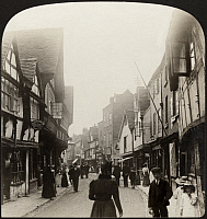 0323025 © Granger - Historical Picture ArchiveENGLAND: FRIAR STREET, c1908.   'Friar Street, with its quaint houses and shops, typical of one of England's oldest towns, Worcester.' Stereograph, c1908.