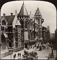 0323032 © Granger - Historical Picture ArchiveFLEET STREET, c1908.   'The Magnificent Law Courts Building and Fleet Street, London, England.' Stereograph, c1908.