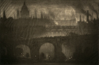 0351728 © Granger - Historical Picture ArchivePENNELL: LONDON, 1909.   'London from my window.' Mezzotint by Joseph Pennell, 1909.
