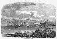 0078050 © Granger - Historical Picture ArchiveFALKLAND ISLANDS, 1856.   A view of Stanley Harbor, Port William, Falkland Islands. Line engraving, 1856.