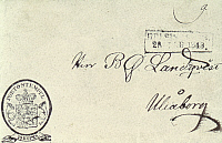 0054000 © Granger - Historical Picture ArchiveFINNISH ENVELOPE, 1845.   First stamped envelope of Finland.