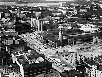 0095572 © Granger - Historical Picture ArchiveFINLAND: HELSINKI, c1974.   Aerial view of Helsinki, the capital of Finland, focusing on the central railway station, c1974.