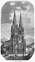 0015729 © Granger - Historical Picture ArchiveQUIMPER: CATHEDRAL, 1856.   The Cathedral of Quimper in Brittany, France. Wood engraving, French, 1856.