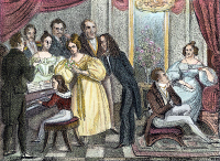 0046714 © Granger - Historical Picture ArchivePARISIAN SALON.   A Parisian salon of the 1830s with Heinrich Heine, Johann Peter Pixis, François Joseph Fetis, Nicolo Paganini, Vincenzo Bellini, and Maria Malibran. Contemporary lithograph.