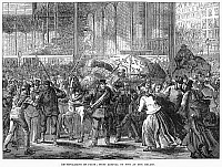 0078111 © Granger - Historical Picture ArchivePARIS: LES HALLES, 1871.   The first arrival of fish at Les Halles following the end of the siege of Paris, France, at the time of the Franco-Prussian War, February 1871. Contemporary English wood engraving.