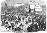 0089416 © Granger - Historical Picture ArchivePARIS: BOIS DE BOULOGNE.   French Emperor Napoleon III skating on a lake on the Bois de Boulogne. Wood engraving, English, 1867.
