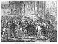 0094857 © Granger - Historical Picture ArchiveSIEGE OF PARIS, 1870-71.   Arrival of fish at the Halles during the Siege of Paris, Franco-Prussian War. Wood engraving, 1871.