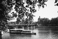 0094915 © Granger - Historical Picture ArchivePARIS: SEINE RIVER.   View of the Seine showing the Pont des Arts and the Institut de France. Photographed mid-20th century.