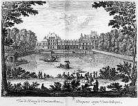0117058 © Granger - Historical Picture ArchiveFRANCE: FONTAINEBLEAU.   The Château de Fontainbleau near Paris seen from the park. Line engraving, French, 1666.