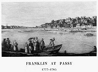 0117067 © Granger - Historical Picture ArchiveFRANCE: PASSY, c1780.   View of Auteuil and Passy from the Seine River. Benjamin Franklin lived at Passy during the American Revolutionary War. Line engraving, late 18th century.