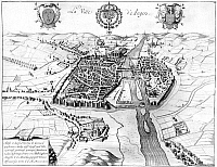 0117103 © Granger - Historical Picture ArchiveFRANCE: WALLED CITY, 1688.   The city of Angers on the Maine River in north-western France. Line engraving, French, 1688.