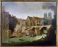 0117157 © Granger - Historical Picture ArchivePARIS, FRANCE: FIRE, 1718.   A boat full of burning hay ran into the Petit Pont (bridge) and set fire to buildings, 1718. Contemporary oil painting by Jean-Baptiste Oudry.