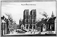 0117308 © Granger - Historical Picture ArchivePARIS: NOTRE DAME, c1650.   Notre Dame Cathedral in Paris, France. Line engraving, German, by Merian, mid-17th century.