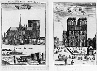0117309 © Granger - Historical Picture ArchivePARIS: NOTRE DAME, 1685.   Two views of the cathedral, seen from the Place de Grève on the Right Bank and and from the parvis. Line engraving, German, 1685.