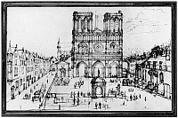 0117311 © Granger - Historical Picture ArchivePARIS: NOTRE DAME, 1690s.   Notre Dame Cathedral in Paris, France, seen from the parvis. Drawing by Adam Perelle, late 17th century.