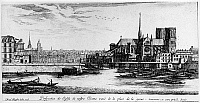 0117317 © Granger - Historical Picture ArchivePARIS: NOTRE DAME, 1600s.   Notre Dame Cathedral in Paris, France, seen from the Place de Grève on the Right Bank. Ile St. Louis is on the left. Etching by Israel Silvestre, mid-17th century.
